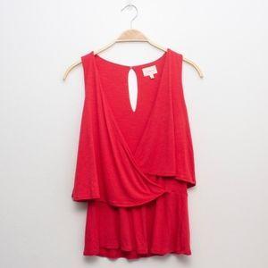 Deletta Anthropologie | Red sleeveless V neck Top